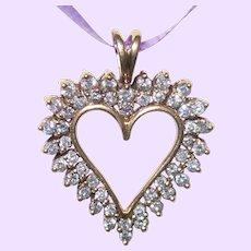 Estate 10 KYG Open Heart Diamond Pendant