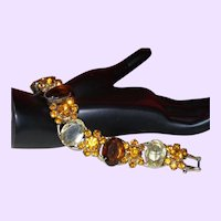 Juliana Large Oval Glass Stone Bracelet in Topaz, Citrine and Root Beer Colors