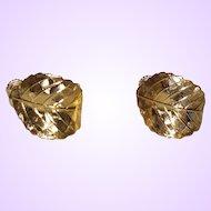 Signed Napier Gold Tone Leaf Earrings