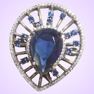Clearance Vintage Ethnic Large Faux Sapphire Ring with Russian CZ Set In Silver