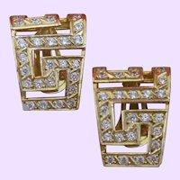 Vintage 14 KYG Clip Hoop Earrings with White Sapphires