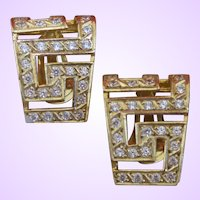 Vintage 14 KYG Clip Hoop Earrings with Synthetic White Sapphires
