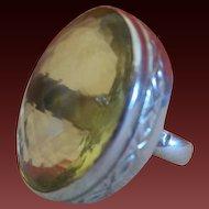 Vintage Ethnic Lemon Citrine 15 Carat Ring Set in Silver