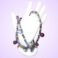 Clearance Item of Natural Iolite and Citrine Necklace with Silver Tone Clasp
