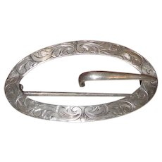 Signed Sterling Unger Bros Art Nouveau Belt/Sash Buckle or Brooch