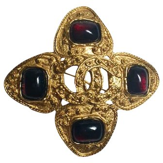 Authentic Chanel 1994 Vintage Ruby Red Gripoix and CC Brooch Pin