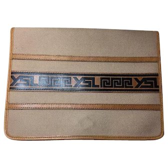 Authentic Yves Saint Laurent YSL Canvas Leather Vintage Tribal Clutch Bag