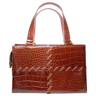 Authentic Yves St Laurent YSL Vintage Chestnut Brown Croc Embossed Handbag