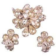 Eisenberg Sparkling Clear Silvertone Rhinestone Pin and Earring Set