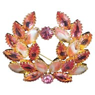 Pink and White Givre Navette Rhinestone Laurel Wreath Style Brooch