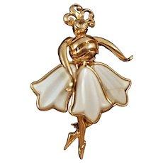 Vintage Coro Goldtone Dancer Pin with Molded Milk Glass Skirt