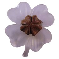 Lucite and Wood Four Leaf Clover Pin