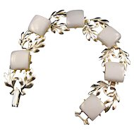 Silvertone Leaf Motif and Ice Blue Moonglow Thermoplastic Link Bracelet