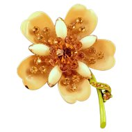 1960s Enameled Fancy Metal Flower Pin with Golden Yellow Rhinestones