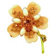 1960s Enameled Fancy Metal Flower Pin with Golden Yellow Rhinestones