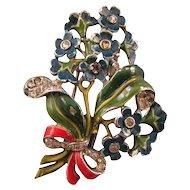 1940 Trifari Enameled Blue Multi-Flower Bouquet Pin Clip - Design Patent