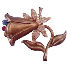 1940s Retro Trumpet Flower Pendant with Rhinestones and Glass Beads