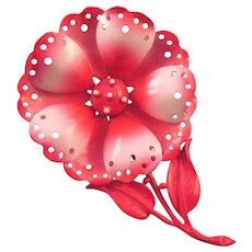 Hedy 1960s Bright Pink and White Enameled Metal Flower Pin - Book Reference