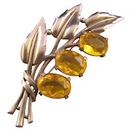 Retro Moderne Yellow Unfoiled Rhinestone Leafy Flower Brooch