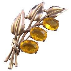 Retro Moderne Yellow Unfoiled Rhinestone Leafy Flower Brooch