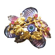 Goldtone Textured Rhinestone Pin - Blues and Purples