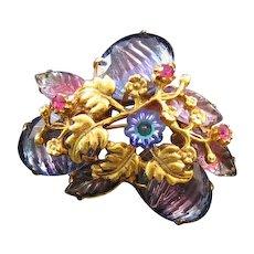 Goldtone Textured Rhinestone Pin - Blues and Purples