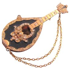 Goldtone and Black Enamel Ornate Mandolin Brooch - Book Reference