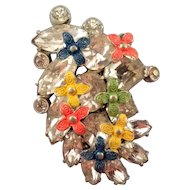 Jaunty Clear Rhinestone Dress Clip with Enameled Flower Accents