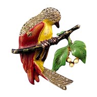 Enameled Bird on Branch Figural Pin