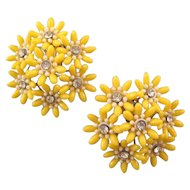 1950 / 60s Large Yellow Plastic Flower Cluster Earrings with Rhinestones