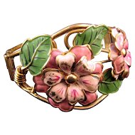 Huge Enameled 1930s Clamper Bracelet - Pink Flowers and Green Leaves