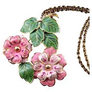 Enameled 1930s Pendant Necklace - Pink Flowers and Green Leaves