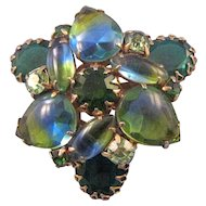 Blue and Green Givre Rhinestone Double Trefoil Brooch