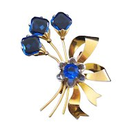 Large Blue Rhinestone Blossom Bouquet Pin