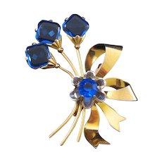 Large Blue Rhinestone Blossom Bouquet Pin