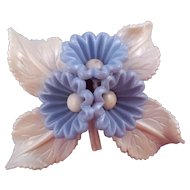 1940s Bluebell Plastic Flower Pin with White Leaves
