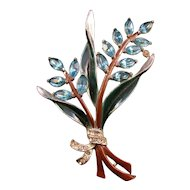 Coro Enameled Light Blue Navette Flower Pin