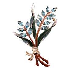 Coro Enameled Light Blue Navette Flower Pin
