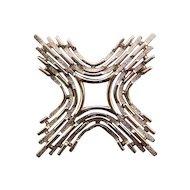 Trifari Textured Silvertone Square Cross Pin