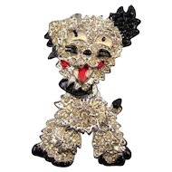 Silvertone and Black Enameled Figural Doggie Brooch - Head Swivels
