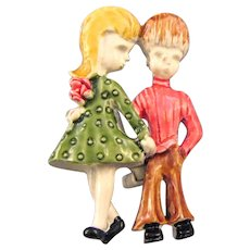 Gerry's Enameled Boy and Girl Pin