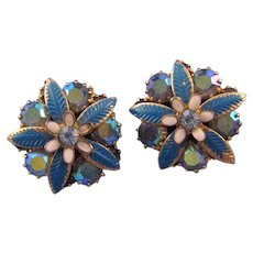Weiss AB Rhinestone and Blue Enamel Flower Earrings