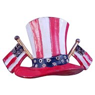 Vintage Patriotic 'Uncle Sam' Hat Enameled Fur Clip