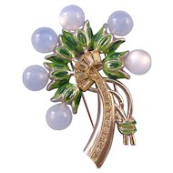 Floral Bouquet Pin Clip with Pale Blue Moonglow Plastic Blossoms