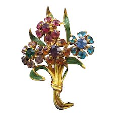 Coro Goldtone Rhinestone Floral Bouquet Fur Clip