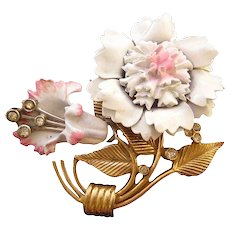 1940s Pink and White Enameled Carnation Pin