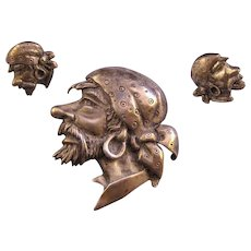 Unsigned Marleen Sterling Pirate's Head Brooch and Screw Back Earrings - Design Patent and Book Reference