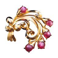1941 Coro Goldtone Swirled Flower Pin with Pink Moonglow Cabochons - Design Patent