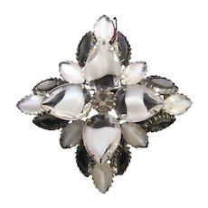 Clear, White, and 'Black Diamond' Color Rhinestone Pin