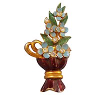 Hollycraft 1953 Blue Flowers in a Brown Vase Brooch